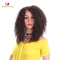 Golden Beauty Short Afro Kinky Curly Wigs Natural Ombre Synthetic Hair Lace Front Wig for Women 14 inch