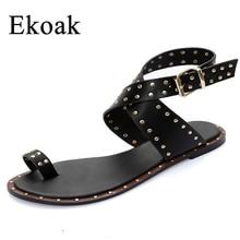 Ekoak/Новинка Мода 2017 г. кожа Гладиатор Сандалии для девочек женские летние Женская одежда Женская обувь пляжная обувь без каблука Сандалии для девочек