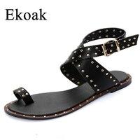 Ekoak New 2017 Fashion Genuine Leather Gladiator Sandals Women Summer Ladies Dress Shoes Woman Beach Shoes