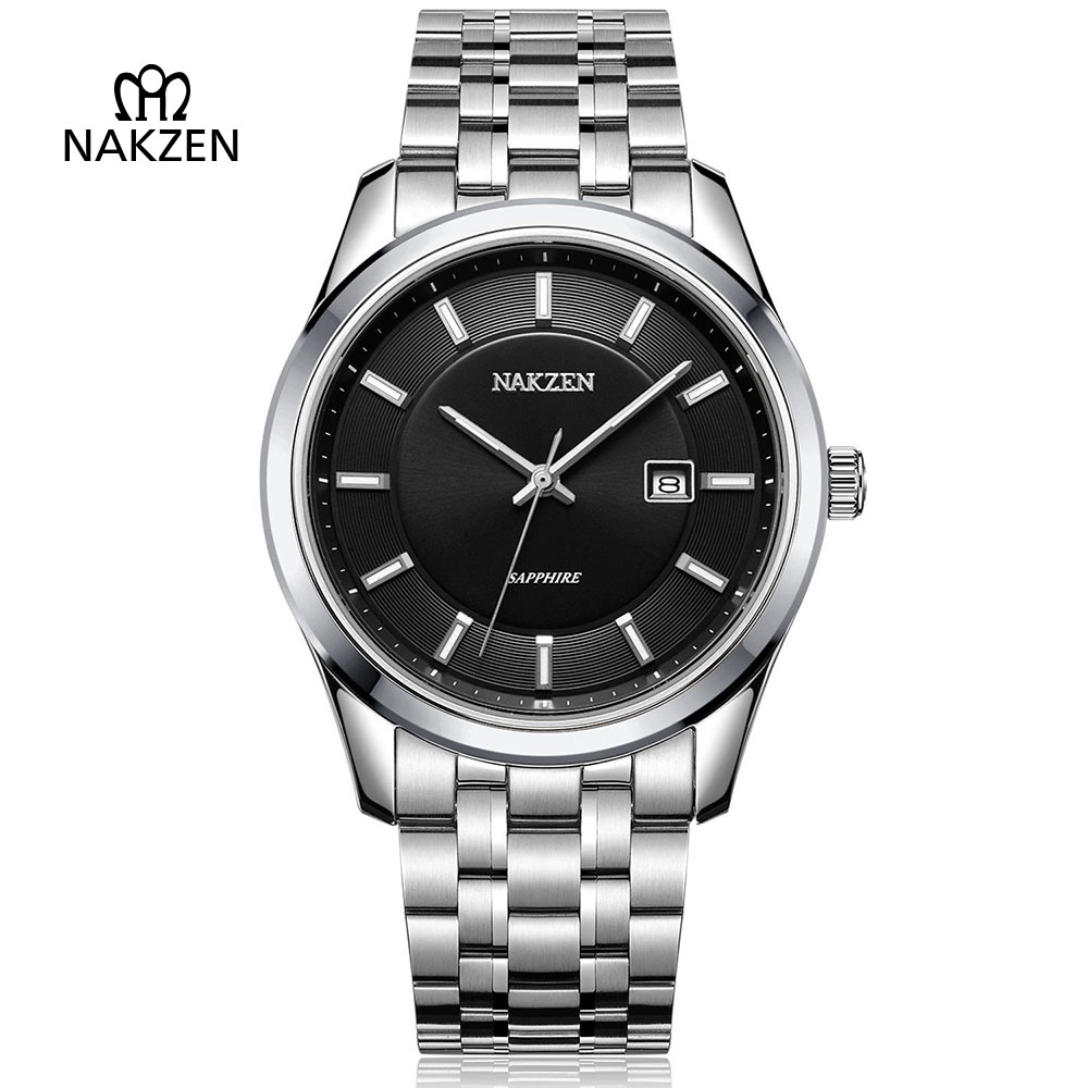 NAKZEN Gents Business Luxury Quartz Watch Men Classic Vintage Fashion Sapphire Dress Clock Steel Accurate Analog Date Man Watch nakzen men s automatic waterproof 50m watch man steel business dress mechanical clock male luxury sapphire diamond fashion watch