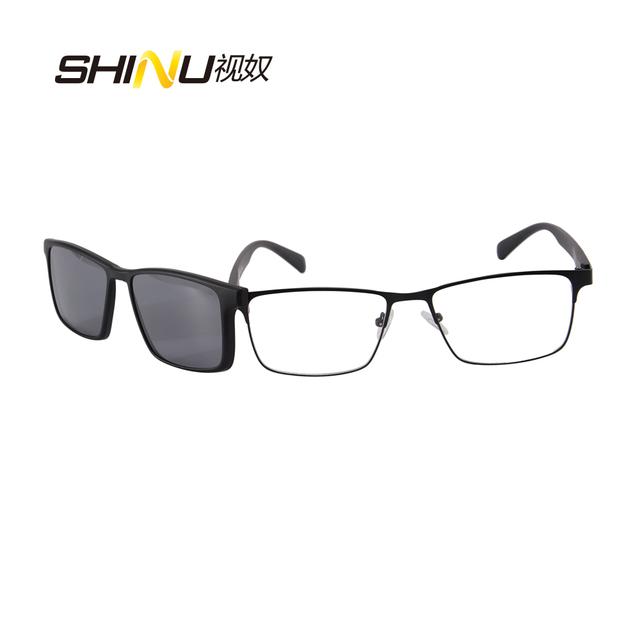 Cool Men Polarizada Clip Sobre Óculos De Sol Magnéticos Óculos De Prescrição Óculos de Armação Frame Ótico do Metal Com TR90 Pernas 9913