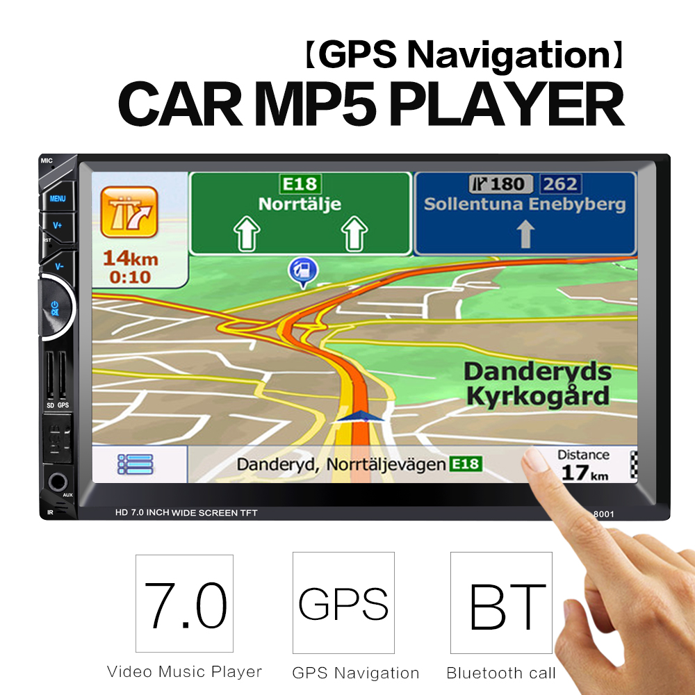 2 Din Car Video Player 7'' 2Din Car Radio Stereo GPS Navigation FM RDS Bluetooth Remote Control Rear View Camera 7 inch 2 din bluetooth car stereo multimedia mp5 player gps navigation fm radio auto rear view camera steering wheel control
