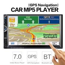 2 Din Voiture Lecteur Vidéo 7 »2Din Autoradio Stéréo GPS Navigation FM RDS Bluetooth Télécommande Arrière Vue caméra