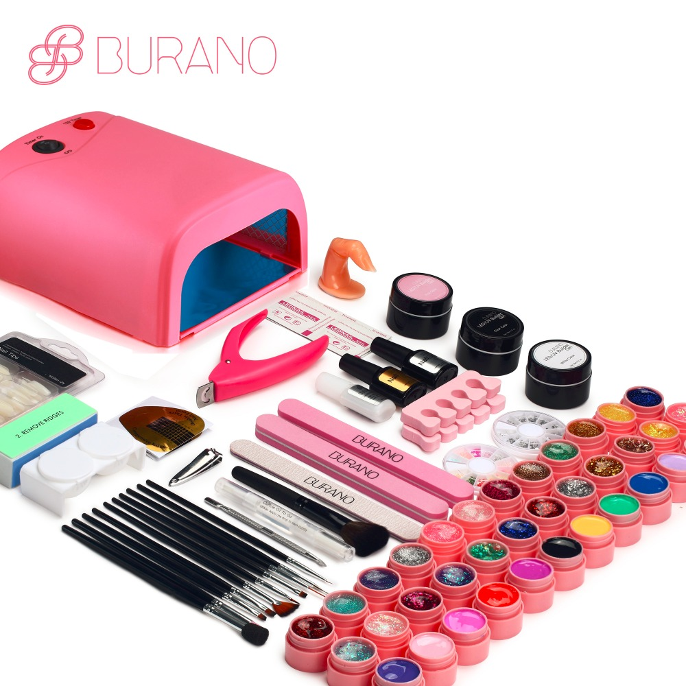 Burano UV LED Lamp & 36 Color UV Gel Nail polish Art Tools polish nail Set Kit building gel manicure set of tools new set009 new pro 48w nail lamp manicure dryer fit uv led builder gel all nail polish nail art tools sun5 professional machine