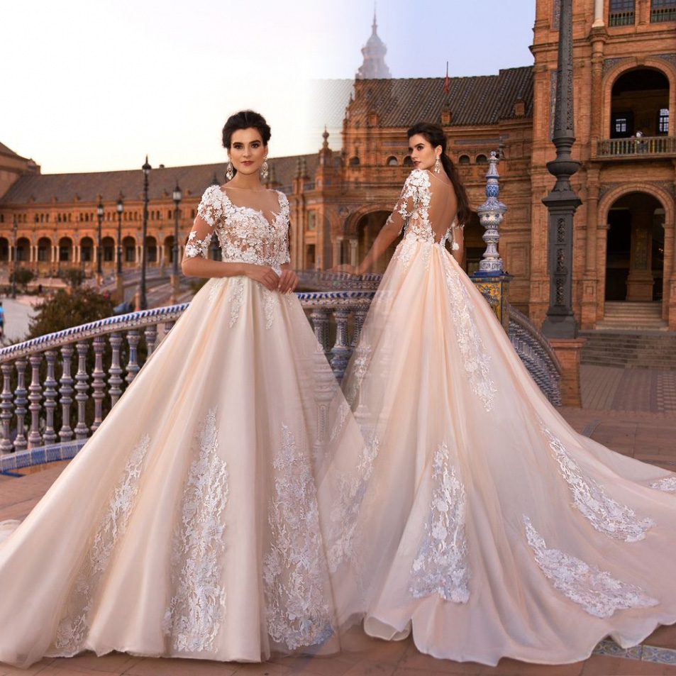 Cheap Wedding Dresses 2017 Lace Wedding Gowns Princess: New Luxury Princess Ball Gown Lace Applique Wedding
