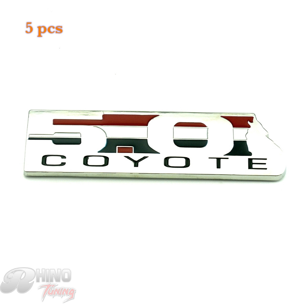 Rhino Tuning 5PC 5.0 COYOTE Self-Adhesive Car Rear Side Stripe Emblem for Boss Falcon GT XR8 Auto Tail Tailgate Sticker 789
