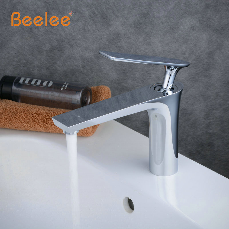 Beelee Classic Style Solid Brass Basin Faucet Hot&Cold Water Tap Single Handle Wash Chrome Finish Bathroom Sink Mixer Taps BL630 frap solid brass basin faucet hot cold water tap single handle wash chrome bathroom kitchen sink mixer wall mounted f4621