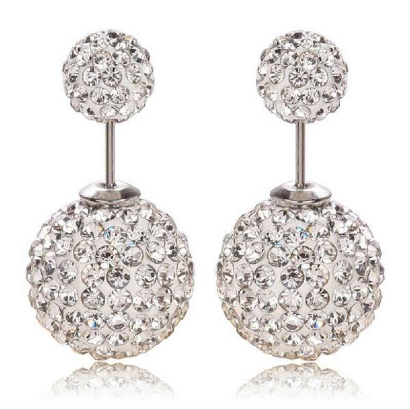 High Quality Drop shipping Hot Sale On Aliexpress Big and Small Double Crystal Stud Earrings For Women