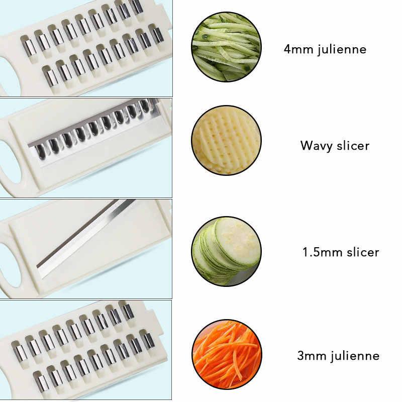 Mandoline Slicer Descascador de Cenoura Cebola Vegetal Slicer da Batata Cortador de Legumes Ralador com Filtro 8 em 1 Acessórios de Cozinha
