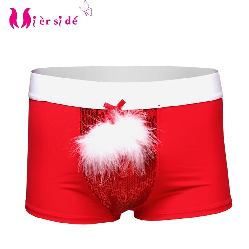 Mierside Külot Noel Iç Çamaşırı Erkekler için Şort Boyleg Kırmızı renk tüy + Boncuk parça S / L / XL cadılar bayramı kostümleri erkekler için