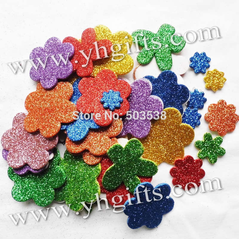 45PCS(1bag)/LOT,Glitter foam flower stickers,Kids toy.Scrapbooking kit.Early educational DIY.Cheap.kindergarten craft