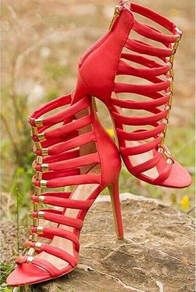 Cut-out zipper stiletto sandals metal decoration hollow out back zipper open toe gladiator sandals super high heel dress sandal denim zipper hollow worn stiletto womens sandals