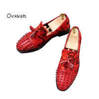 Ovxuan Tassels Shoes Fashion Party Wedding Men Dress Shoes Casual Leather Shoes Rivets Slip On Camouflage
