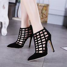 High Quality Summer Stiletto Women Pumps Ankle Boots Ladies Thin High Heels Woman High Heel Shoes botas de mujer Plus Size 35-40