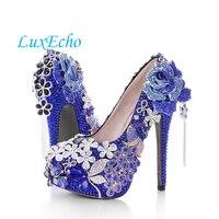Поступления 2016 г. весенние туфли лодочки с большим цветком на высоких каблуках дамские свадебные туфли с кисточками и голубым кристаллом ту