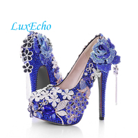 2016 spring large flower high heel pumps tassel blue crystal bridal shoes round toe shoes shallow mouth women's shoes