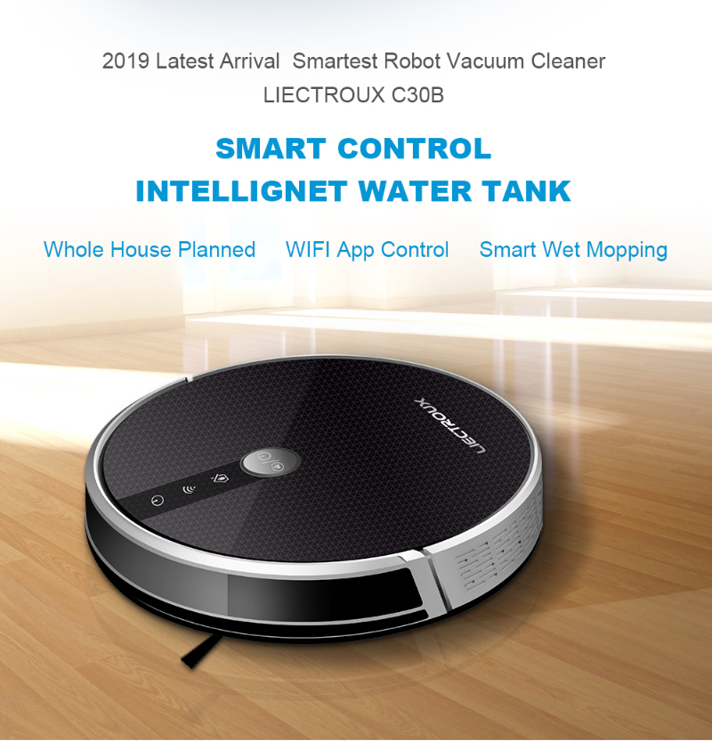 2020 Smartest LIECTROUX Robot Vacuum Cleaner C30B, 3000Pa Suction, Map navigation with Memory,Wifi APP, Big Electric Water tank