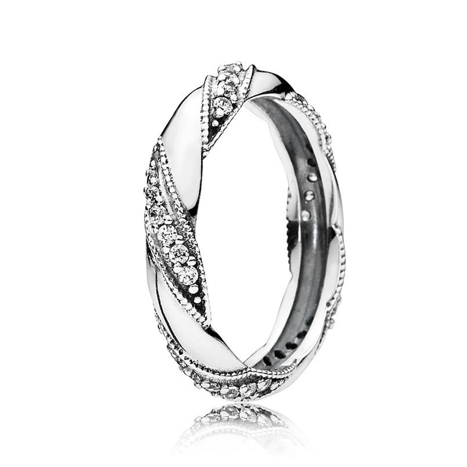 On Sale Authentic 925 Sterling Silver Ribbon Of Love Ring for Women Clear CZ For Women Wedding Gift fit Lady Fine Jewelry