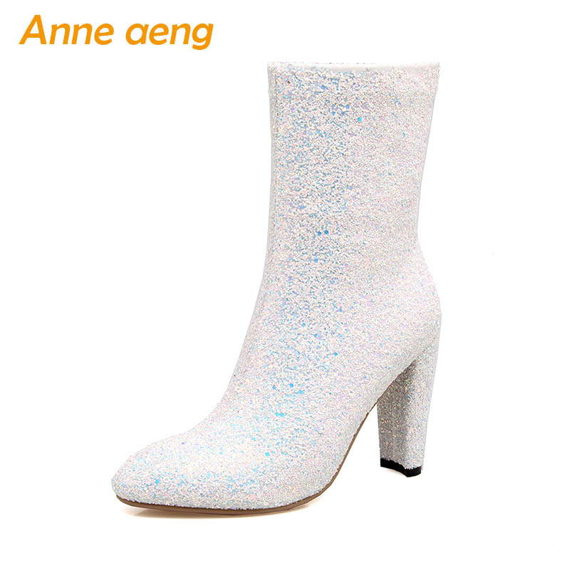 New Spring/Autumn Women Ankle Boots High Heel Pointed Toe Sexy Ladies Women Bling Wedding Shoes White Short Boots Big Size 33-46 women sexy high heel ankle boots with lock lace up patent leather boots autumn short boots wedding shoes women botas size 36 46