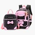 2 Unids Children school bolsas PU cuero niños mochilas morral rosado de la princesa bolsas de regalo mochila para las niñas mochila ortopédicos