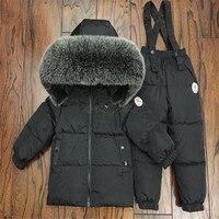 30 градусов натуральный мех воротник куртки + брюки комбинезоны костюм дети вниз комплекты одежды для мальчиков и девочек теплые лыжные ком