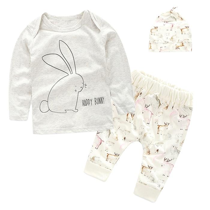 KEOL Best Sale Newborn Baby Girls Clothes Rabbit Print T Shirt+ Pants+ Hat Outfits 3pcs Set , 0-6 Months