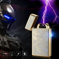 China Dragon LED Cross Double Arc Electronic Lighter USB Pulse Windproof Lighters Metal Cigarette Lighter Gifts -8013
