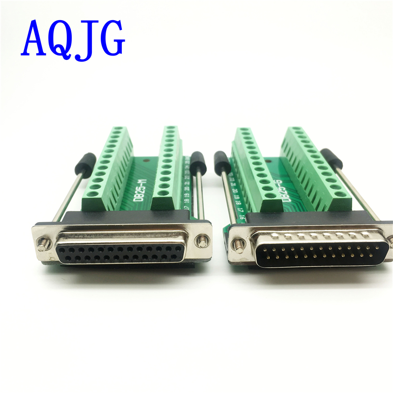 D-SUB Connectors DB25 25Pin Male Adapter Board RS232 Serial to Terminal Signal Module AQJG mwdm2l 37scbr 110 d sub micro d connectors micr d pcb con 3 mr li