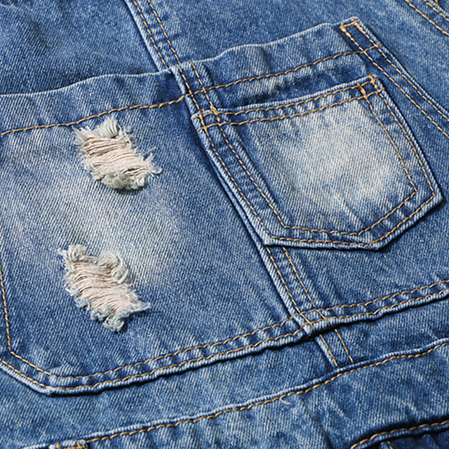 Sokotoo Men's slim ripped blue denim bib overalls shorts Boy's summer knee length holes distressed jeans