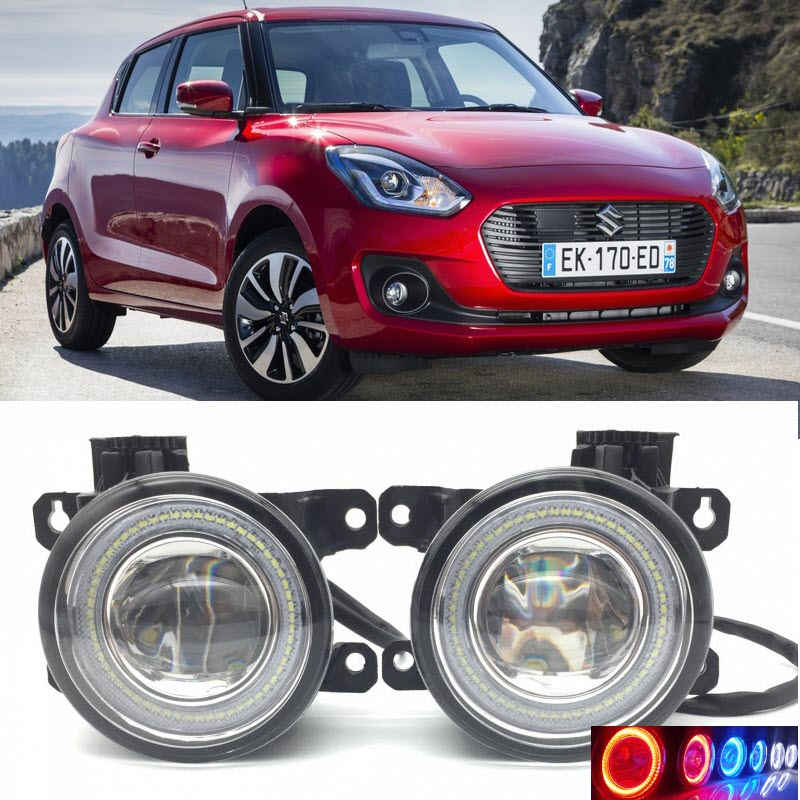 2 in 1 LED Angel Eyes DRL 3 Colors Daytime Running Lights Cut-Line Lens Fog Lamp for Suzuki Swift 2005-2017 / Swift Sport for opel astra h gtc 2005 15 h11 wiring harness sockets wire connector switch 2 fog lights drl front bumper 5d lens led lamp