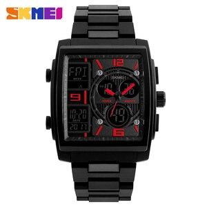 Image 3 - Skmei criativo esportes relógios masculinos de aço inoxidável malha moda relógio masculino marca superior luxo digital relogio masculino 1274