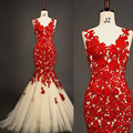 Elegant Red V Neck Appliqued Lace Sheer Back Mermaid Tulle Evening Party Dresses Inmitate