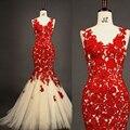 Elegante Red V Neck Lace Appliqued Sheer Voltar Sereia Tulle vestidos de Noite Vestidos de Festa Inmitate