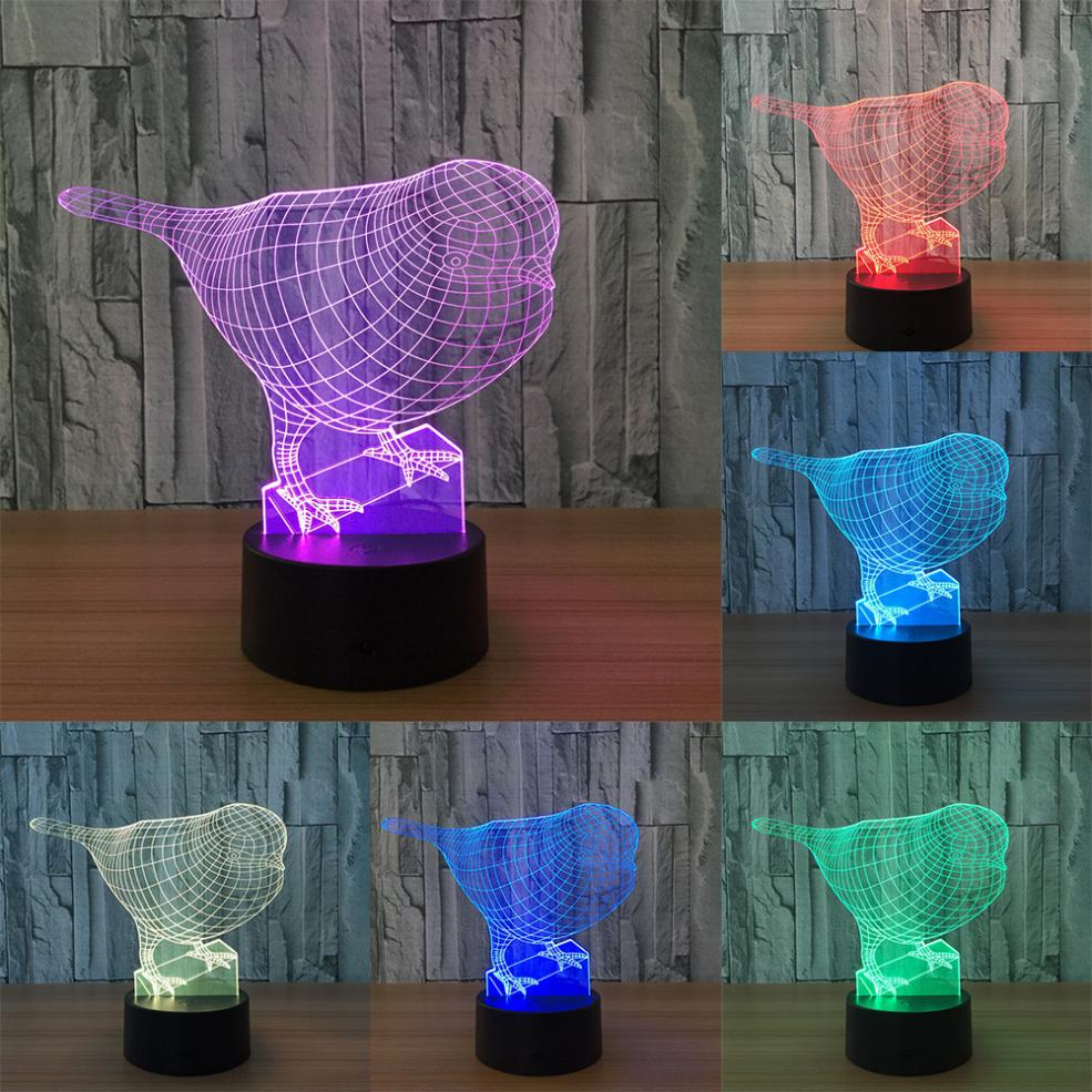 MUQGEW 5V USB 3D illusion Visual Night Light 7 Colors Change LED Desk Lamp Bedroom Home Decor Touch Switch long working