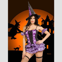 9871 Sexy Heks Kostuum Deluxe Adult Womens Magische Moment Kostuum Volwassen Heks Halloween Fancy Dress