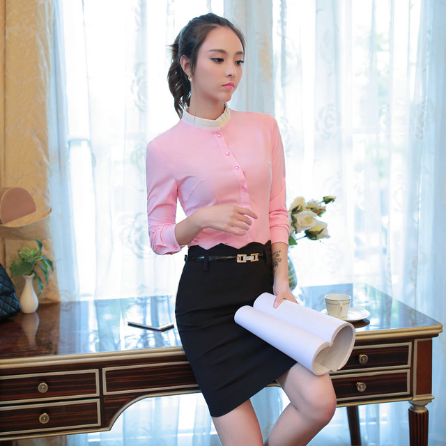 Novelty Pink Professional Work Wear Suits With 2 Piece Tops And Skirt Formal OL Style Spring Fall Ladies Skirt Suits Outfits