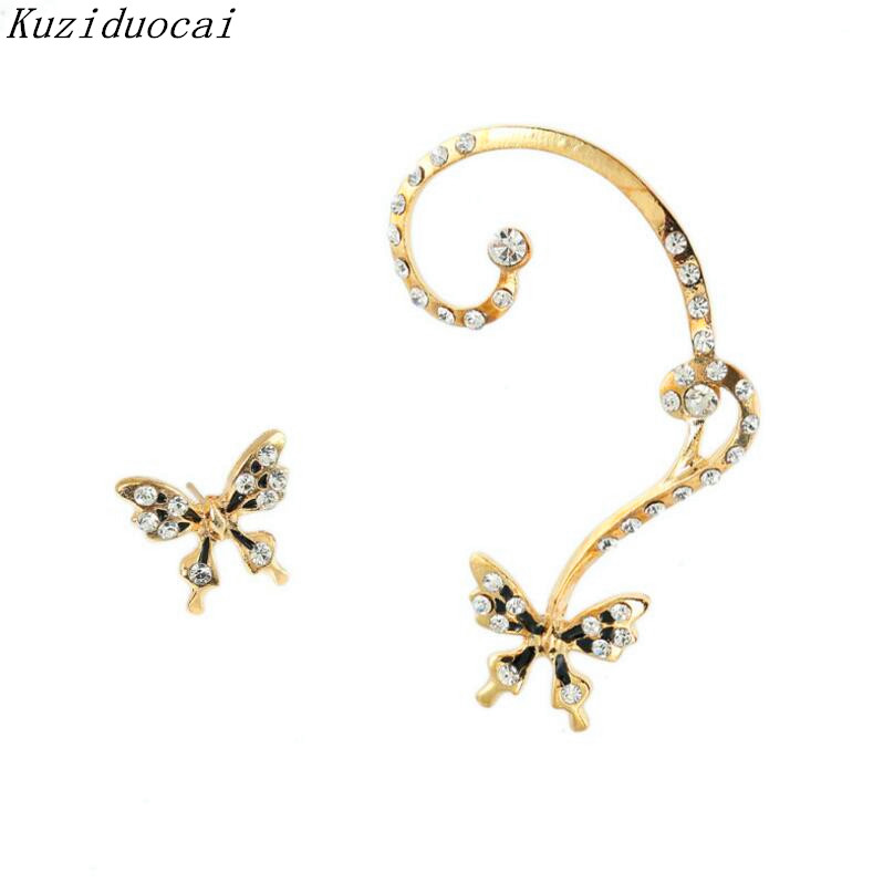 Kuziduocai 2017 New ! Hot Fashion Fine Jewelry Personality Asymmetry Butterfly Rhinestone Dazzling Stud Earrings For Women E-279