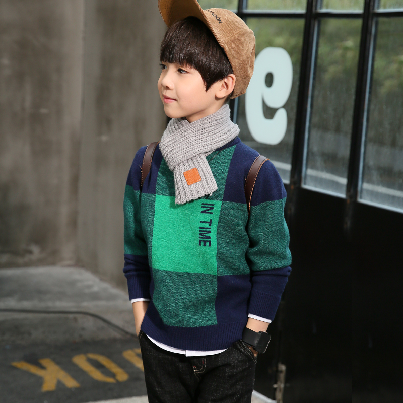 Boys Plaid Plaid sweater Baby Girls Sweater jumper Autumn Winter Kids Knitted Pullovers Turtleneck Warm Outerwear Boys Sweater