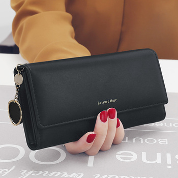 Women's Leather Multi-Functional Long Wallet Bags and Wallets Hot Promotions New Arrivals Women's Wallets Color: Black