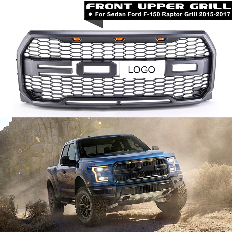 все цены на 4Pcs Car Racing Grill For Ford F150 Raptor 2015 2017 2016 Grille Logo Mesh Radiator ABS Front Bumper Lower Modify Mask With LED онлайн
