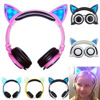 Stereo Cat Earphones Glowing Cat Ear Headphones Led Flashing Light Gaming Headset For Iphone 6 6s