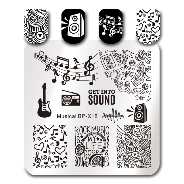 BORN PRETTY 6*6cm Square Nail Art Stamp Template Musical Note Symbol - stamp template