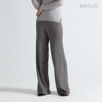 women's Knitted Pants or Capris casual loose with elastic waist and sashes fashion brand Merino wool and Anti pilling acrylic