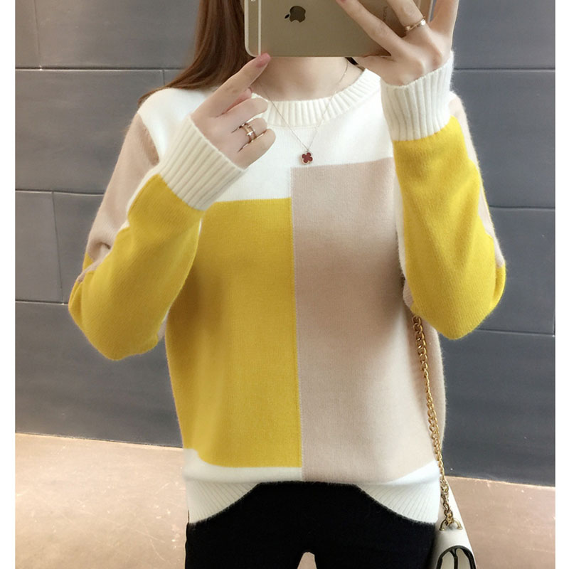 2019 Fall Woman Sweater Knitting Pullovers Long Sleeve Yellow Knit Fashion Pull New Arrival Luxury Women Tops Sweaters Tops Lady