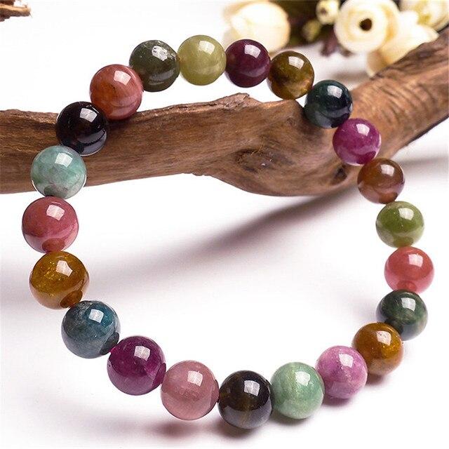 9mm Genuine Colorful Natural Tourmaline Quartz Crystal Bracelets For Women Femme Charm Stretch Round Bead Bracelet