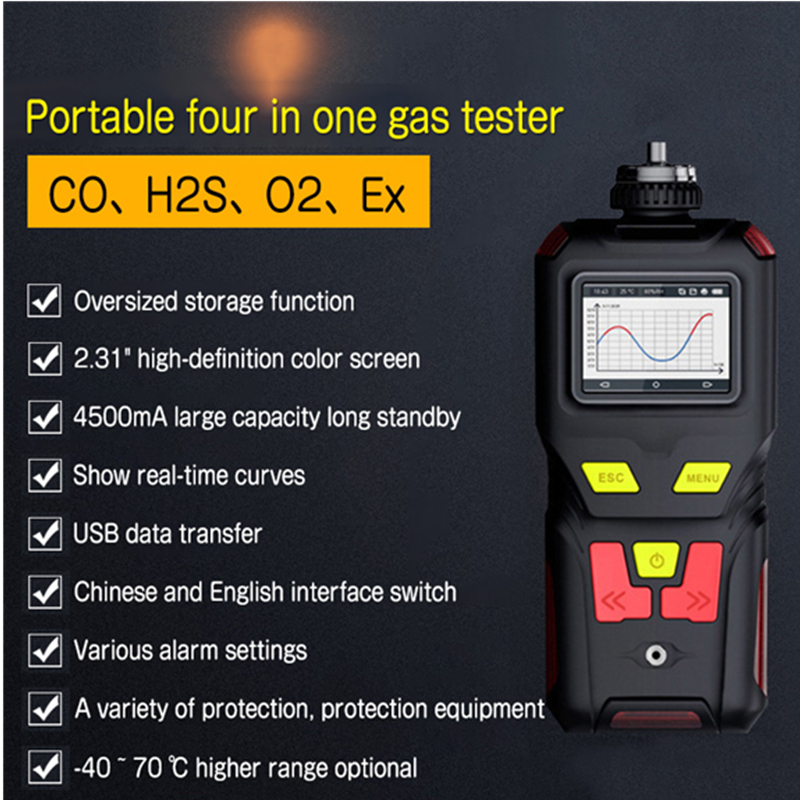 4 in 1 Gas Detector Oxygen O2 H2S CO EX Carbon Monoxide Combustible Analyzer Large Screen Flammable Monitor Gas Leak Detector