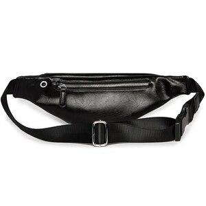 Image 5 - حقيبة خصر للرجال فاخرة من جلد البولي يوريثان حقيبة عصرية بحزام قابل للضبط حقيبة للرجال عالية الجودة كيس الموز