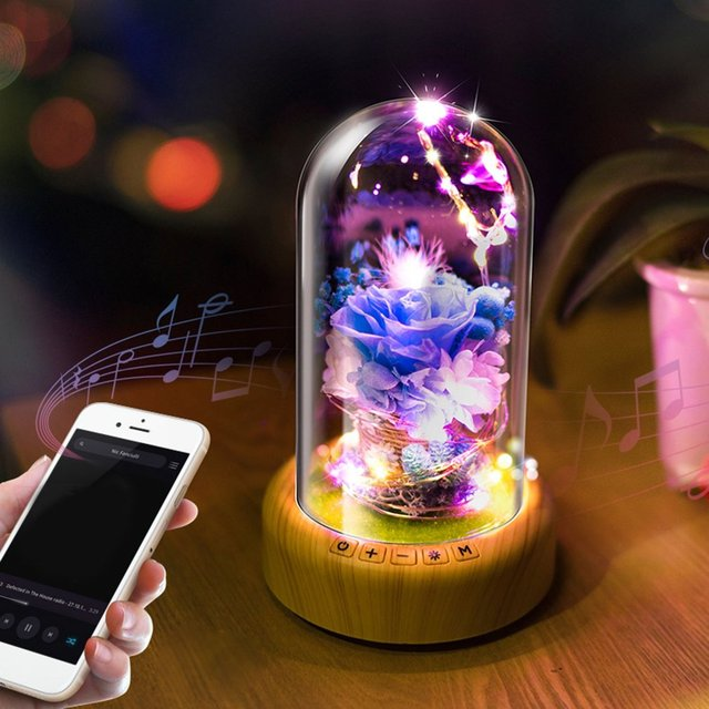 Rechargeable Led Night Light Streamer Gl Bottle Wireless Bluetooth Speaker String Lights With Flower Decor 2 Colors