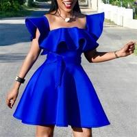 Women Summer Party Dress Pleated with Waist Belt Ruffle Blue Celebrate Dinner Evening Night Clubwear Sexy Robes Tunics Plus Size