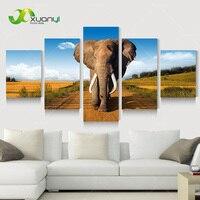 5แผงแอฟริกันช้างน้ำมันจิตรกรรมฝาผนังศิลปะรูปภาพมอร์